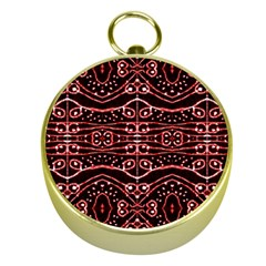 Tribal Ornate Geometric Pattern Gold Compass