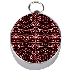 Tribal Ornate Geometric Pattern Silver Compass