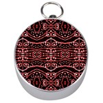 Tribal Ornate Geometric Pattern Silver Compass Front