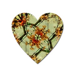 Floral Motif Print Pattern Collage Magnet (heart)