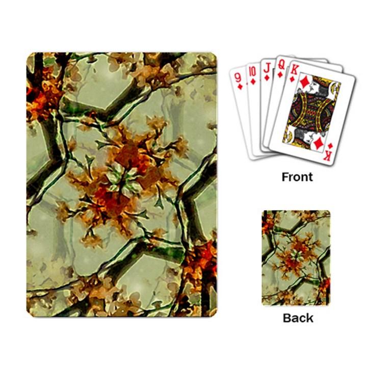 Floral Motif Print Pattern Collage Playing Cards Single Design