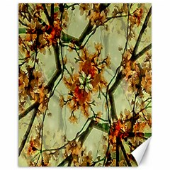 Floral Motif Print Pattern Collage Canvas 11  X 14  (unframed)