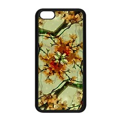 Floral Motif Print Pattern Collage Apple iPhone 5C Seamless Case (Black)