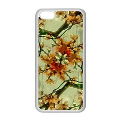 Floral Motif Print Pattern Collage Apple iPhone 5C Seamless Case (White)