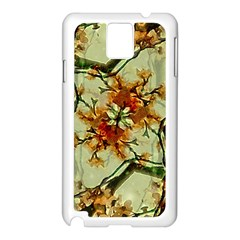 Floral Motif Print Pattern Collage Samsung Galaxy Note 3 N9005 Case (White)