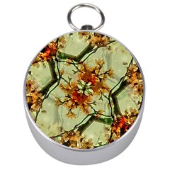 Floral Motif Print Pattern Collage Silver Compass
