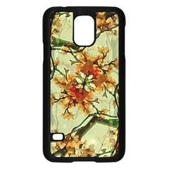 Floral Motif Print Pattern Collage Samsung Galaxy S5 Case (Black)