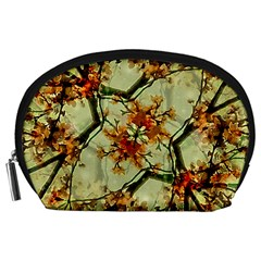 Floral Motif Print Pattern Collage Accessory Pouch (large)