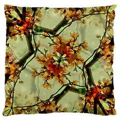 Floral Motif Print Pattern Collage Large Flano Cushion Case (two Sides)