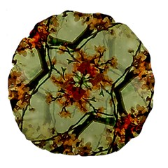 Floral Motif Print Pattern Collage 18  Premium Flano Round Cushion