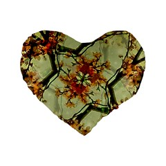 Floral Motif Print Pattern Collage 16  Premium Flano Heart Shape Cushion