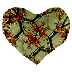 Floral Motif Print Pattern Collage 19  Premium Flano Heart Shape Cushion