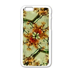 Floral Motif Print Pattern Collage Apple Iphone 6 White Enamel Case
