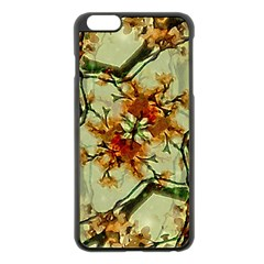 Floral Motif Print Pattern Collage Apple iPhone 6 Plus Black Enamel Case