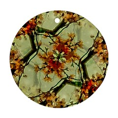Floral Motif Print Pattern Collage Round Ornament