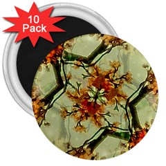 Floral Motif Print Pattern Collage 3  Button Magnet (10 Pack)