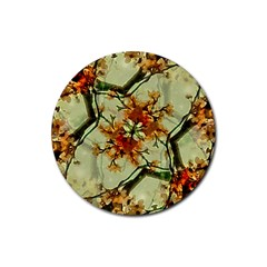 Floral Motif Print Pattern Collage Drink Coasters 4 Pack (round)