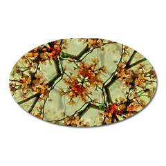 Floral Motif Print Pattern Collage Magnet (oval)