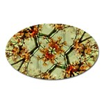 Floral Motif Print Pattern Collage Magnet (Oval) Front
