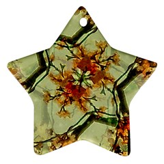 Floral Motif Print Pattern Collage Star Ornament (two Sides)