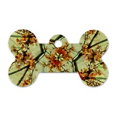 Floral Motif Print Pattern Collage Dog Tag Bone (Two Sided)