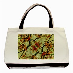 Floral Motif Print Pattern Collage Twin Sided Black Tote Bag