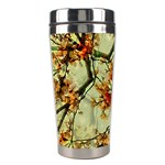 Floral Motif Print Pattern Collage Stainless Steel Travel Tumbler Left