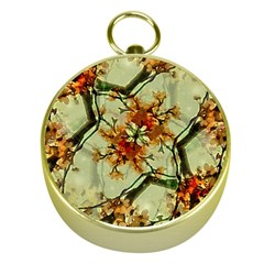 Floral Motif Print Pattern Collage Gold Compass