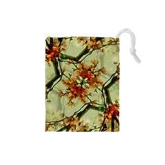 Floral Motif Print Pattern Collage Drawstring Pouch (Small)