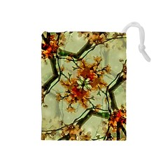 Floral Motif Print Pattern Collage Drawstring Pouch (Medium)