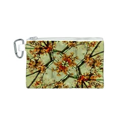 Floral Motif Print Pattern Collage Canvas Cosmetic Bag (small)