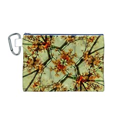 Floral Motif Print Pattern Collage Canvas Cosmetic Bag (Medium)
