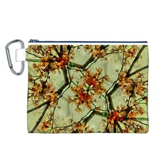 Floral Motif Print Pattern Collage Canvas Cosmetic Bag (Large)