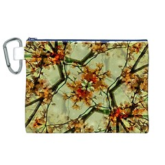 Floral Motif Print Pattern Collage Canvas Cosmetic Bag (XL)