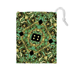 Luxury Abstract Golden Grunge Art Drawstring Pouch (large)