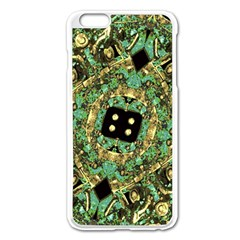 Luxury Abstract Golden Grunge Art Apple iPhone 6 Plus Enamel White Case