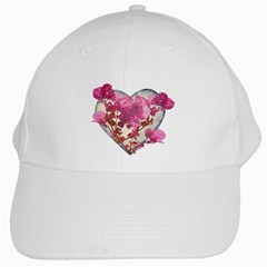 Heart Shaped With Flowers Digital Collage White Baseball Cap