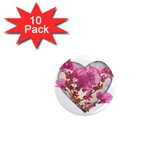 Heart Shaped With Flowers Digital Collage 1  Mini Button Magnet (10 Pack)
