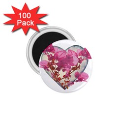 Heart Shaped With Flowers Digital Collage 1 75  Button Magnet (100 Pack)