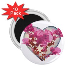 Heart Shaped With Flowers Digital Collage 2 25  Button Magnet (10 Pack)