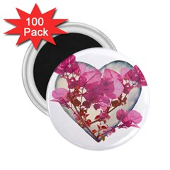 Heart Shaped With Flowers Digital Collage 2 25  Button Magnet (100 Pack)