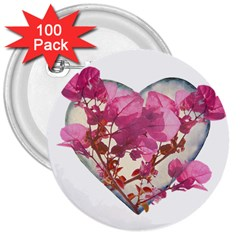 Heart Shaped With Flowers Digital Collage 3  Button (100 Pack)