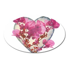 Heart Shaped With Flowers Digital Collage Magnet (oval)