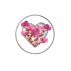 Heart Shaped With Flowers Digital Collage Golf Ball Marker (for Hat Clip)
