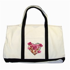 Heart Shaped With Flowers Digital Collage Two Toned Tote Bag