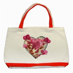 Heart Shaped with Flowers Digital Collage Classic Tote Bag (Red)