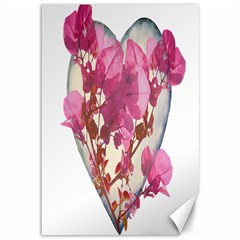 Heart Shaped With Flowers Digital Collage Canvas 12  X 18  (unframed)