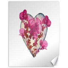 Heart Shaped With Flowers Digital Collage Canvas 18  X 24  (unframed)