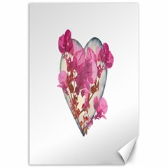 Heart Shaped With Flowers Digital Collage Canvas 20  X 30  (unframed)