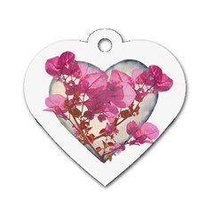 Heart Shaped With Flowers Digital Collage Dog Tag Heart (two Sided)